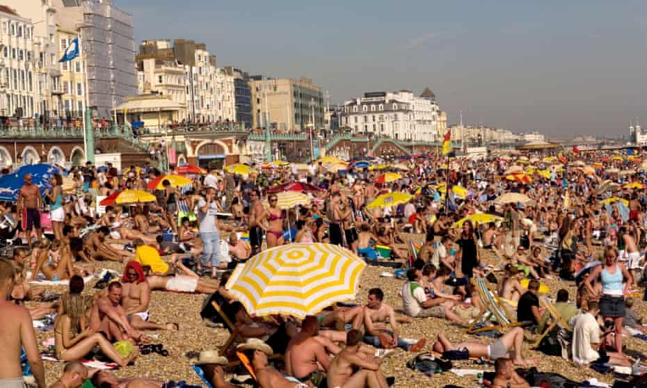 Brighton Beach, Sussex, United Kingdom on the hottest day of the summer in 2007