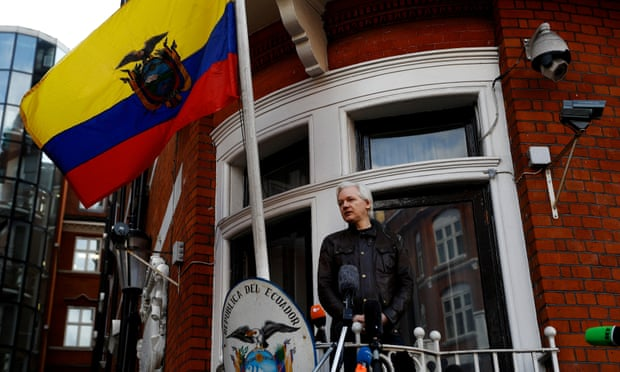 WikiLeaks founder Julian Assange on the balcony of the Ecuadorian embassy in London.