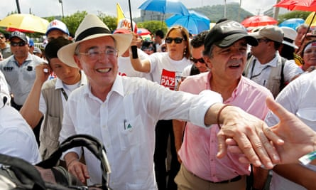 Colombia's former President Uribe during a protest against the government's peace accord with the Farc.