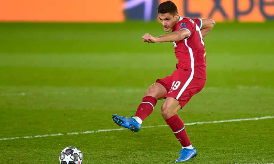 Ozan Kabak playing for Liverpool against Real Madrid when on loan from Schalke last season