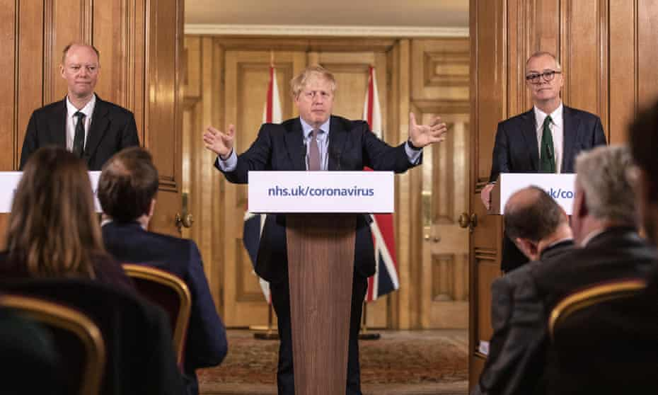Boris Johnson's first daily update on the Coronavirus pandemic,with chief medical officer Chris Whitty and chief scientific officer Sir Patrick Vallance.