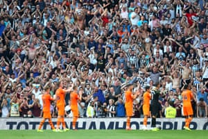 Newcastle celebrate their 1-0 victory with the fans.
