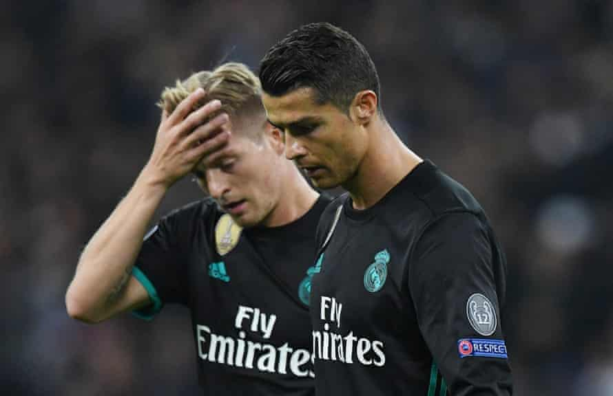 Cristiano Ronaldo and Toni Kroos during the defeat.