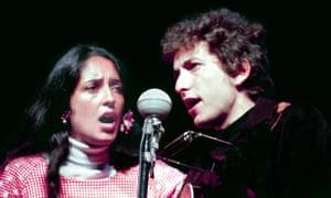 Joan Baez and Bob Dylan at Newport in 1964.