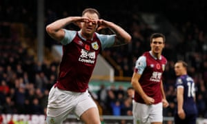 Burnley's Ashley Barnes celebrates scoring their first goal.