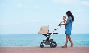 Mother and baby on a seafront