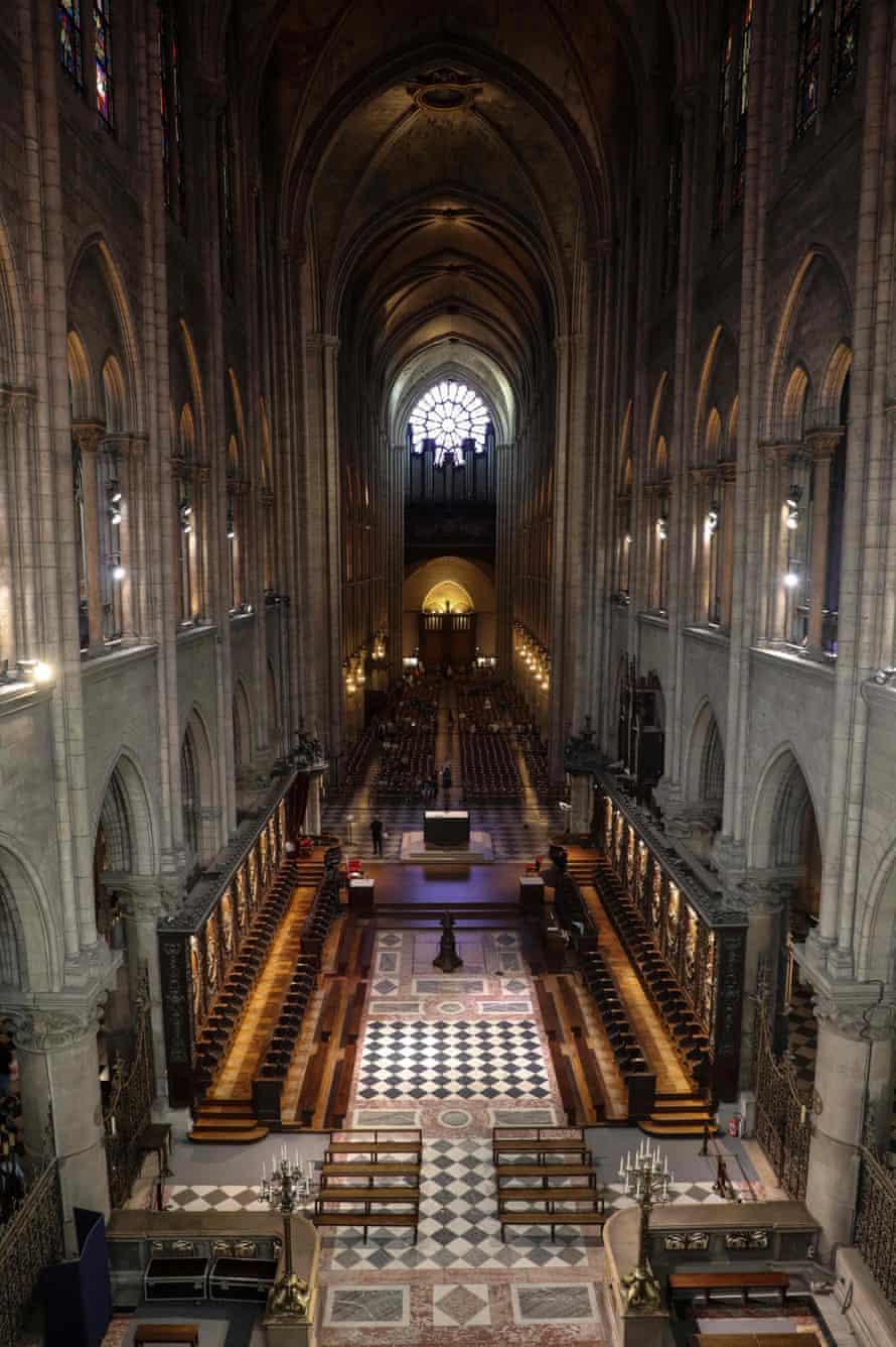 The transept at Notre-Dame de Paris cathedral in Paris.