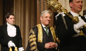 John Bercow (centre) who voiced his opposition to Donald Trump addressing MPs and peers.