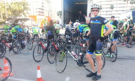 Peter poses with the AnPost-Chain Reaction team, Calpe, Spain