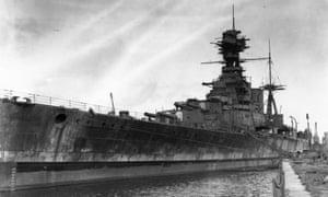 The battleship HMS Hood in 1930 during a dockyard refit.