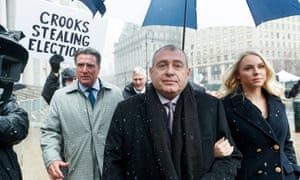 Lev Parnas arrives to court with his wife Svetlana in New York on 2 December. Parnas and Igor Fruman, close associates to Trump's lawyer Rudy Giuliani, were arrested last month.