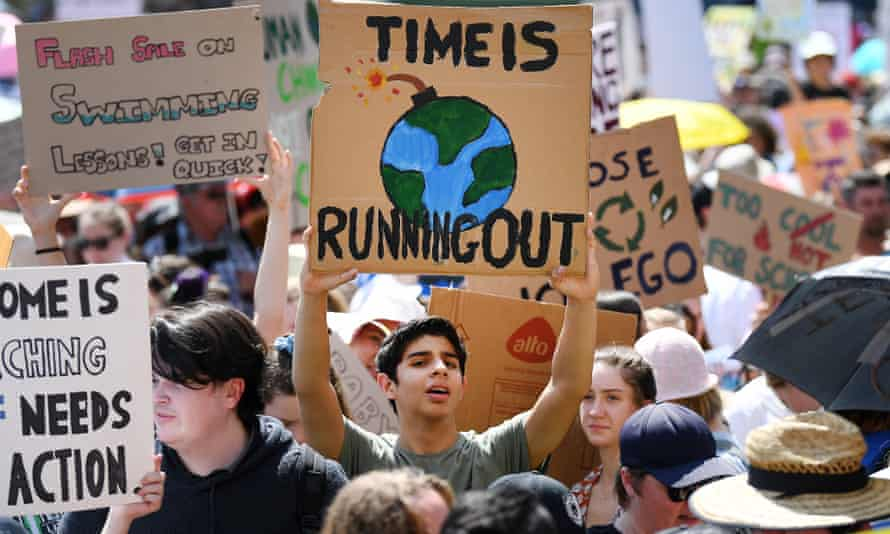 A protester takes part in the The Global Strike 4 Climate rally in Brisbane, in September 2019.
