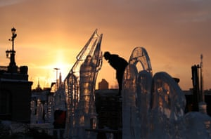 Yekaterinburg, Russia. Ice sculptures created for the Star of Bethlehem ice sculpture festival