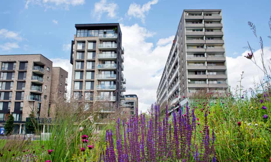 New (left) and old blocks on the Aylesbury estate.