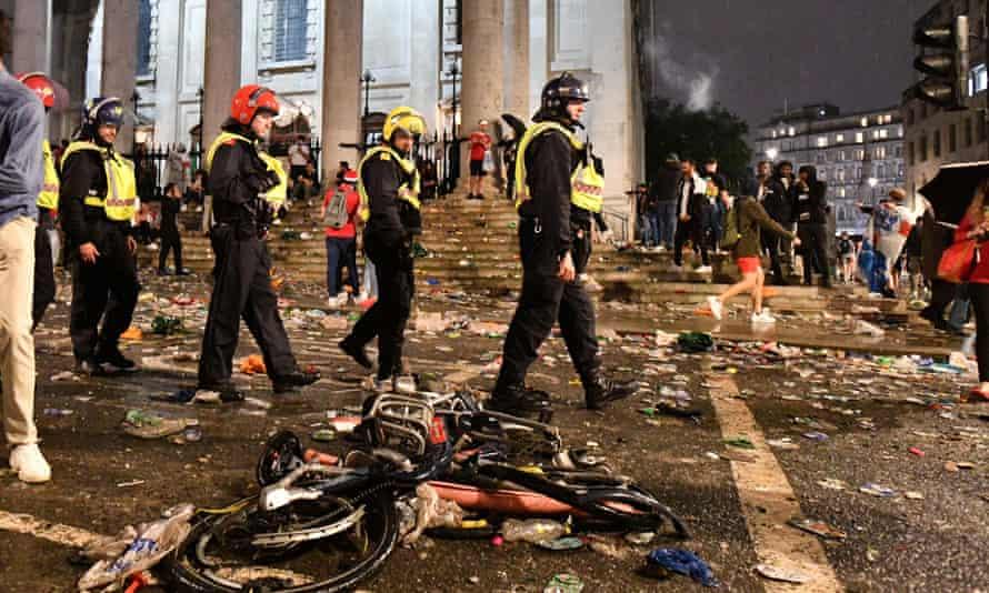 Police officers in Trafalgar Square