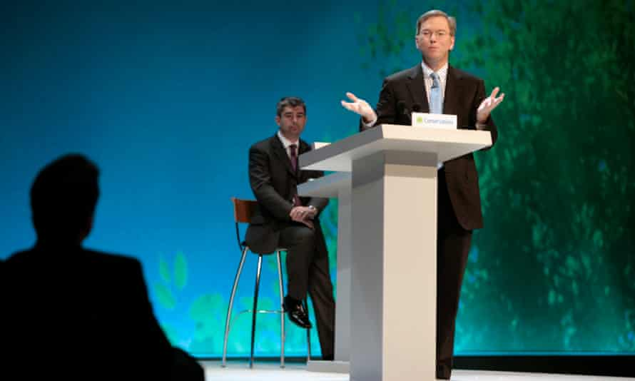 David Cameron listens to Google's Eric Schmidt speaking at the 2006 Conservative party conference