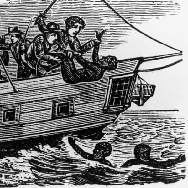 An image depicting slaves being thrown overboard in the Middle Passage of the Atlantic Ocean