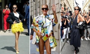 Celine Dion wows Paris in ???, Off-White swimsuit with blazer and Schiaparelli.