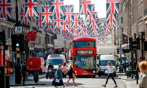 Union flag decorations in Regent Street, London
