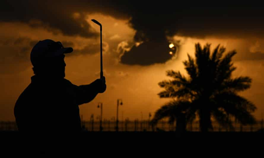 Ryan Fox of New Zealand plays his second shot on the 9th hole during day two of the Saudi International