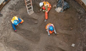 Bones are uncovered at Charterhouse Square.