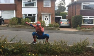 For an hour each day, Spiderman visits a different neighbourhood in Stockport to bring joy to isolated children.