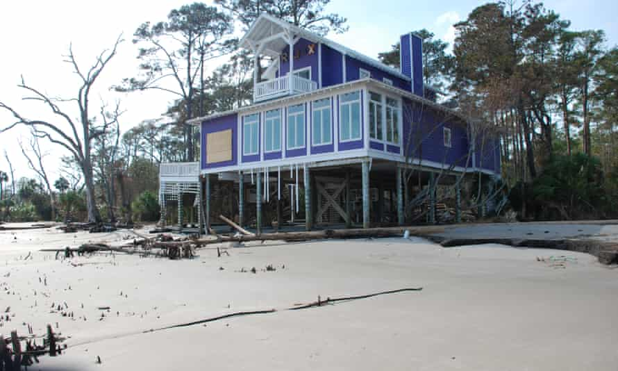 Daufuskie beach houses after Hurricane Matthew.