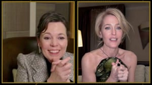 Olivia Colman and Gillian Anderson, winner of best supporting actress for TV for The Crown