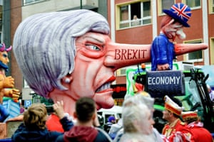 Düsseldorf, Germany: A float depicting Theresa May during the annual Rose Monday parade