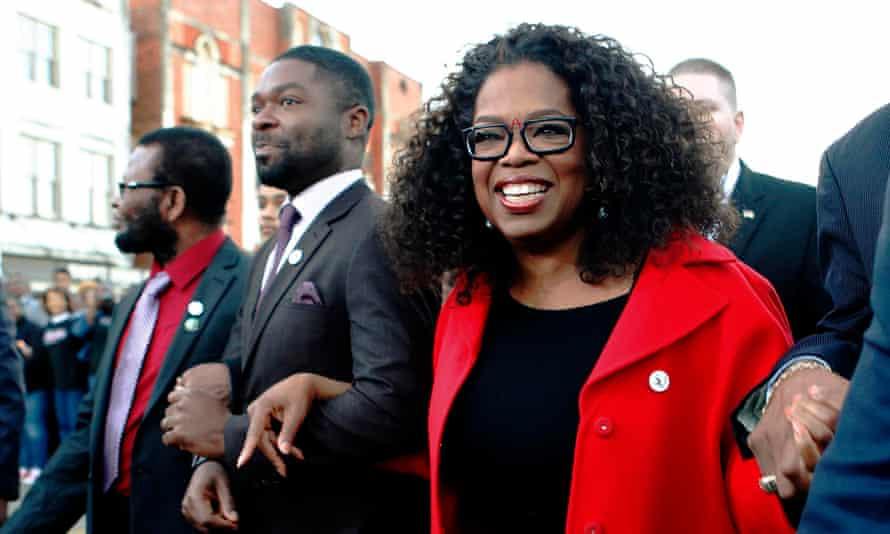 Oprah and David Oyelowo in Selma.