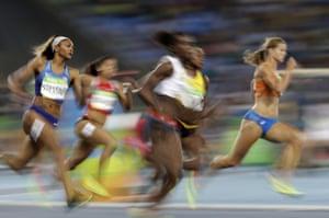 The Netherlands' Dafne Schippers wins her 200m semi-final.