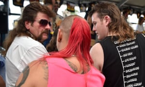 Men wait to be judged on their mullet styles at Mulletfest 2018 in Kurri Kurri, 150 kms north of Sydney.