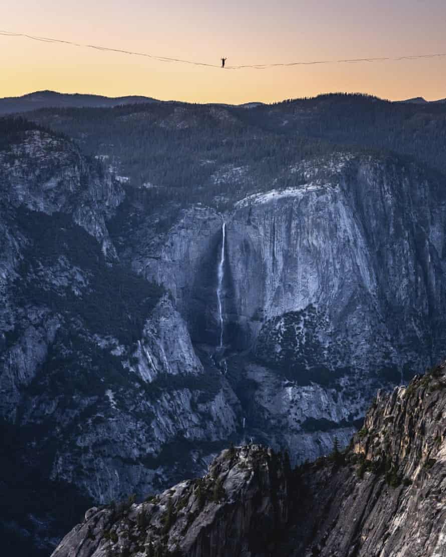 Highliner Daniel Monterrubio walks the 2,800-foot line off Taft Point in Yosemite national park on 12 June.