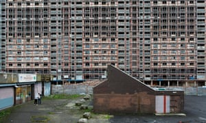 The Red Road Flats in Glasgow await demolition. Large amounts of asbestos were used in their construction in the 1960s to ensure the structural integrity of the buildings' steel frames in the event of a fire.