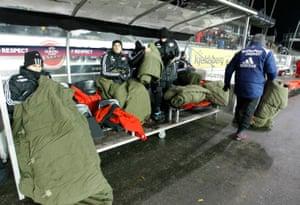 Players of Rosenborg prepare for their European League Group B match against Leverkusen at Lerkendal Arena in Trondheim on 1 December 2010.