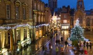York at Christmas … 'A Dickensian vision of twinkling lights strung across narrow paved streets.'