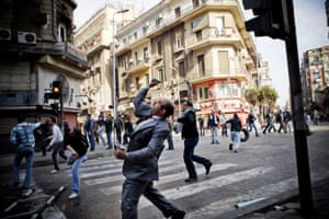 Protesters on the streets of Cairo on the Friday of Anger, 28 January 2011