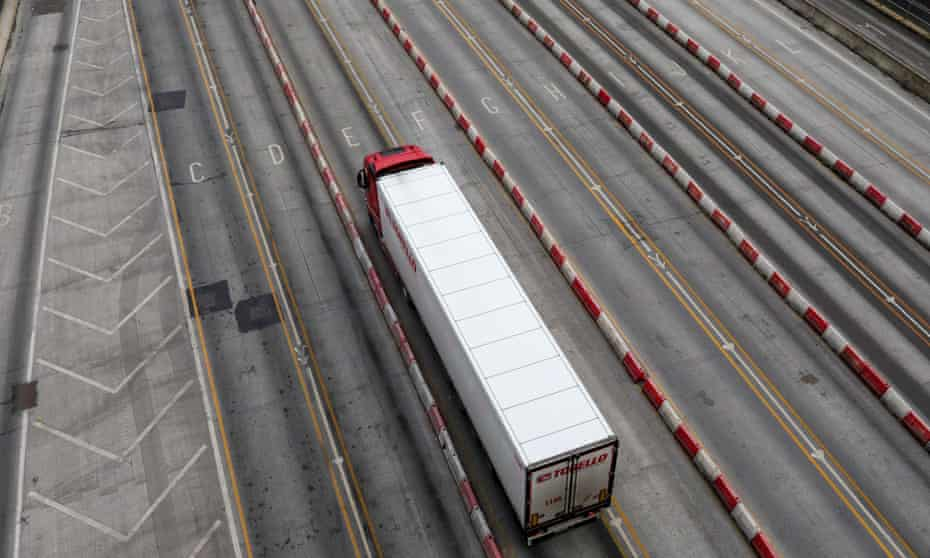 A freight lorry waits at the port of Dover in England.