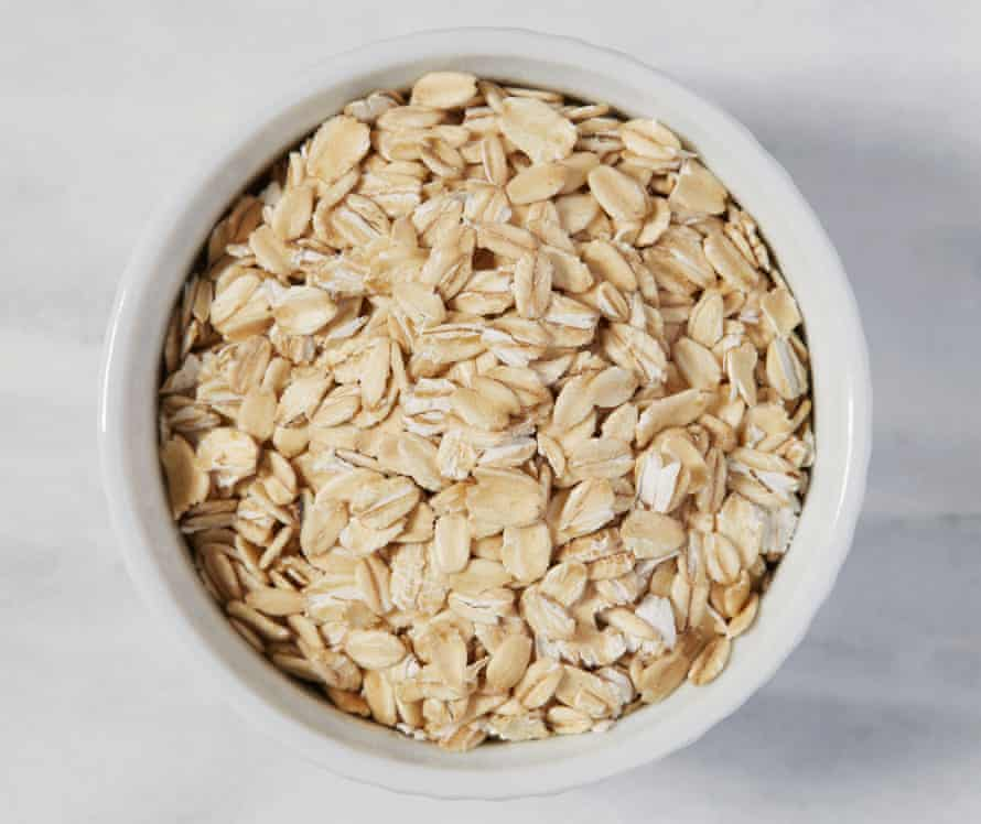Overhead view of oatmeal in a bowl