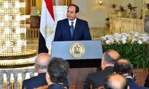 Egyptian president Abdel Fattah al-Sisi addresses the media in Cairo.