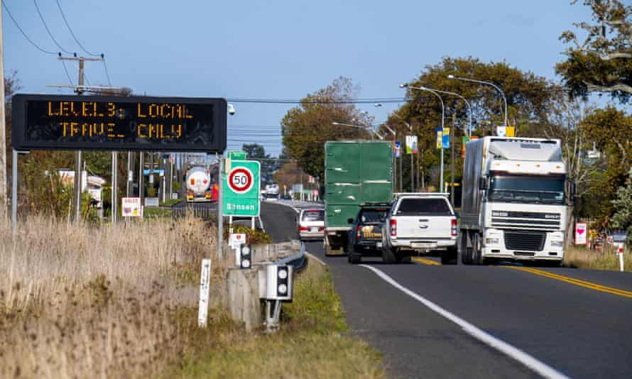 A road sign during level 3 lockdown in New Zealand