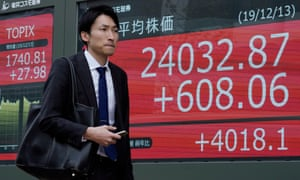 Pedestrian in front of Nikkei Stock Average