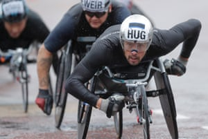 Marcel Hug of Switzerland in the wheelchair race which was won by Brent Lakatos ahead of Britain's David Weir.
