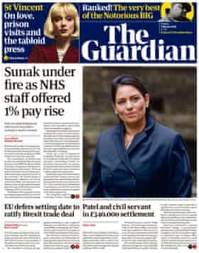 Guardian front page, Friday 5 March 2021