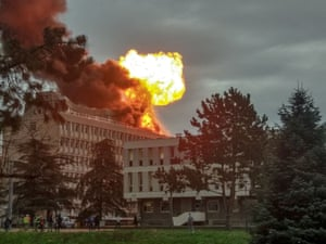 An explosion on a rooftop of La Doua University in Lyon, France