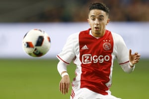 Abdelhak 'Appie' Nouri playing for Ajax at the Amsterdam Arena in October 2016. He collapsed the following year.