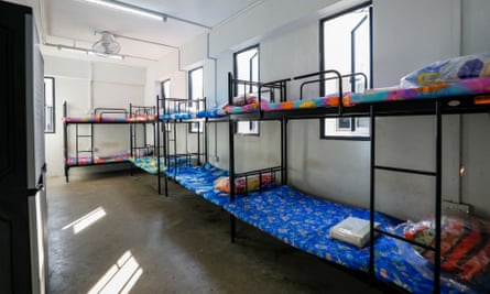 Sleeping quarters in the Westlite Papan dormitory for migrant workers who have recovered from Covid-19, Singapore.