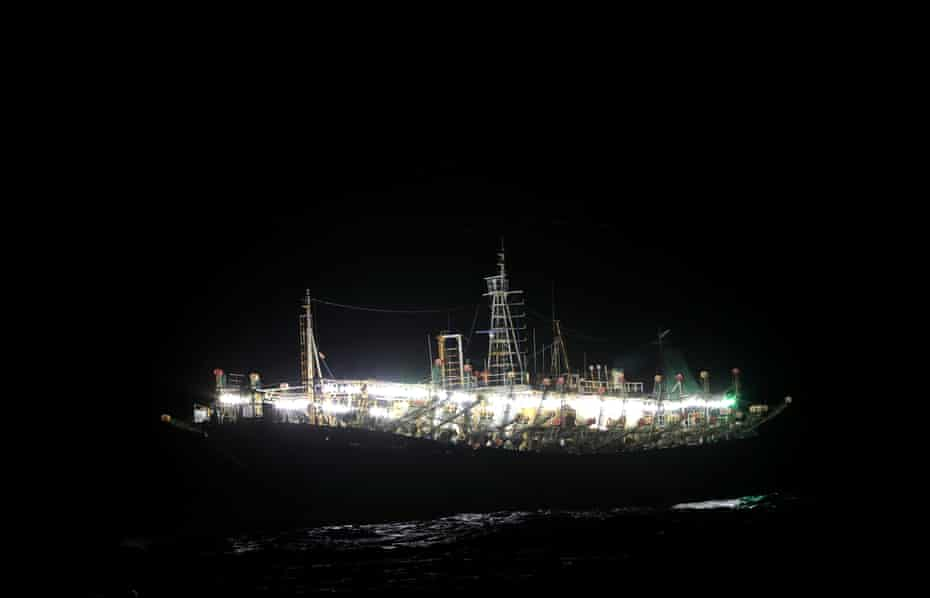 Images of the Chinese squid jigger vessel at night, Jorge de la Quintana