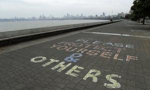 A message written on the Arabian Sea coast in Mumbai, India, Tuesday, 2 June 2020.