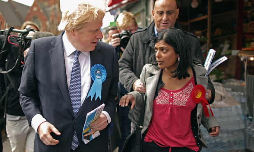 Boris Johnson and Rupa Huq during the 2015 general election.
